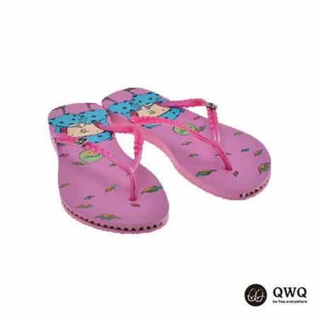 【QWQ】創意設計夾腳拖鞋-秋詩-粉(有鑽)