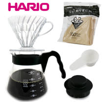 【HARIO】V60透明濾泡咖啡壺組(1~4杯)