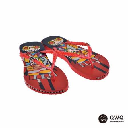 【QWQ】創意設計夾腳拖鞋-剪髮趣-紅(有鑽)