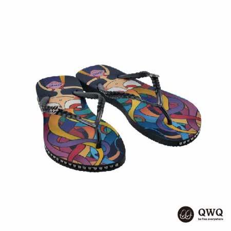 【QWQ】創意設計夾腳拖鞋-彩魔女-黑(有鑽)