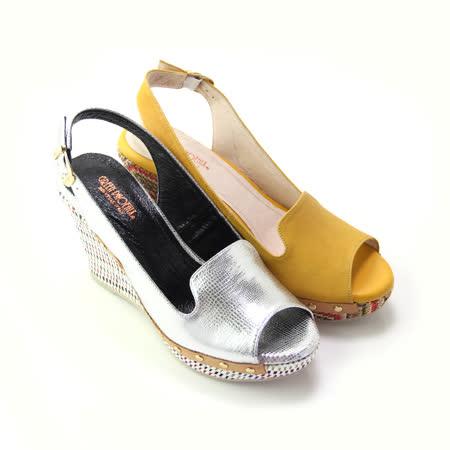 【GREEN PHOENIX】BIS-VITAL 皮革壓紋金屬釘扣山羊皮編織楔型魚口涼鞋