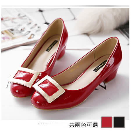 《JOYCE》優雅方扣裝飾粗跟鞋