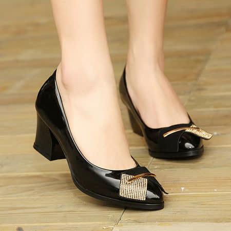 《JOYCE》異材拼接個性裝飾粗跟鞋
