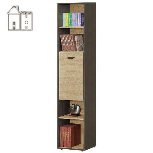 AT HOME~瑪莎1.35尺鐵刀橡木紋單門開放書櫃