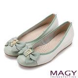 MAGY 甜美混搭新風貌 壓紋織帶滾邊蝴蝶結真皮娃娃鞋-翠綠