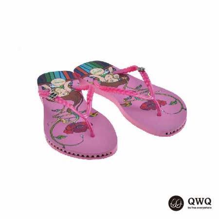 【QWQ】創意設計夾腳拖鞋-夢裡花-粉(有鑽)