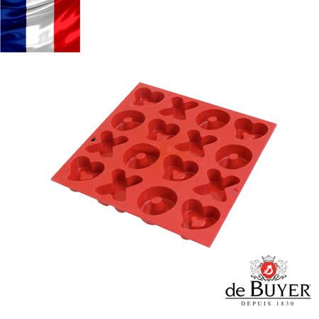 法國【de Buyer】畢耶烘焙『黑軟矽膠模系列』紅色O X 愛心造型膜