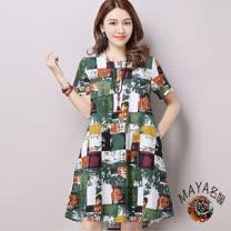 【Maya 名媛】M-2XL棉麻料短袖半開襟a字裙身連衣裙彩方塊綠色