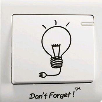 窩自在 DIY無痕創意牆貼/隨意貼-隨手關燈開關貼 (9X9)