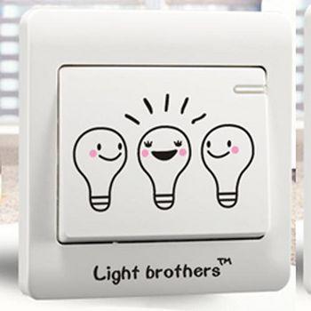 窩自在 DIY無痕創意牆貼/隨意貼-燈泡兄弟開關貼 (9x9)