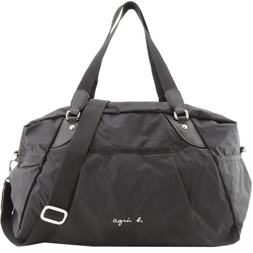 agnes b. VOYAGE金屬LOGO風衣料旅行袋(小/黑)
