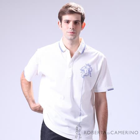 ROBERTA諾貝達 台灣製  嚴選質感 特色短袖POLO衫 白色