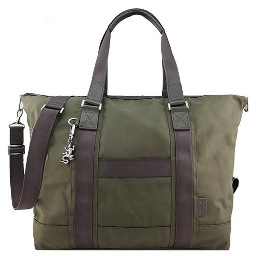 agnes b VOYAGE蜥蝪吊飾雙槓帆布旅行袋(綠)
