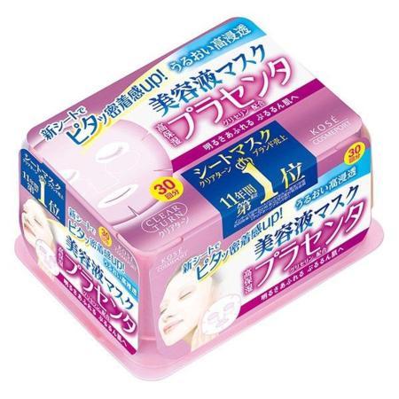 日本KOSE 胎盤素緊緻活膚面膜30入