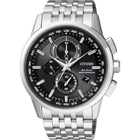 CITIZEN Eco-Drive 萬年曆電波腕錶-黑/43mm AT8110-61E