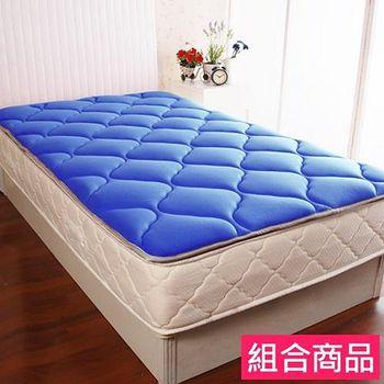 契斯特 彈性支撐日式收納床墊居家組(單人3尺-海洋藍)+防水保潔枕套(粉藍) +小碎花手提包