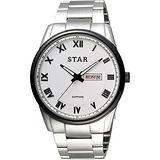 STAR 時代 羅馬城市時尚腕錶-白x黑框/43mm 1T1512-211S-W