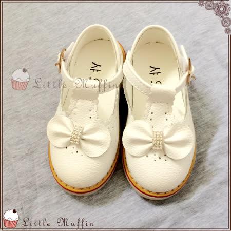 水鑽蝴蝶結皮質公主鞋/娃娃鞋/花童鞋/禮服鞋 止滑膠底外出鞋