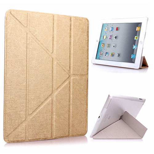 Apple iPad mini3/mini2/mini Y折式側翻皮套(金) 附保貼