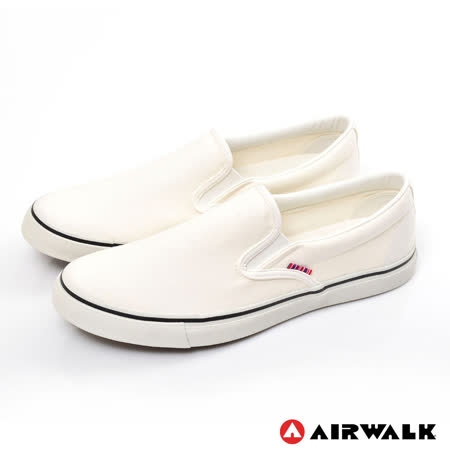 AIRWALK(男) - 宅男必敗 懶人式直套式帆布鞋 - 雅痞白
