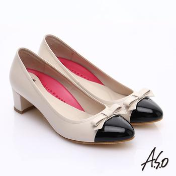 【A.S.O】職場女力 鏡面真皮拼接復古粗跟中跟鞋(白)