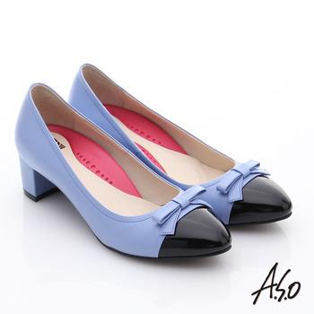 【A.S.O】職場女力 鏡面真皮拼接復古粗跟中跟鞋(淺紫)