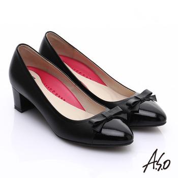 【A.S.O】職場女力 鏡面真皮拼接復古粗跟中跟鞋(黑)