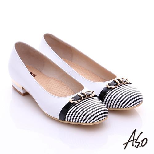 【A.S.O】3E舒活寬楦 全真皮奈米條紋皮飾帶低跟鞋(白)