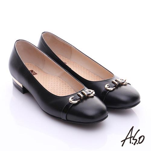 【A.S.O】3E舒活寬楦 全真皮奈米條紋皮飾帶低跟鞋(黑)