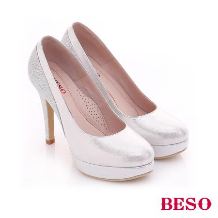【BESO】極簡風格 閃亮耀眼金蔥拼接高跟鞋(銀)