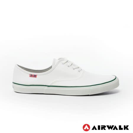 AIRWALK(男) - 就是帆布鞋 綁帶式霸王氣帆布鞋 - 綠線白