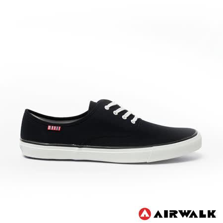 AIRWALK(男) - 就是帆布鞋 綁帶式霸王氣帆布鞋 - 黑線黑