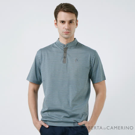 ROBERTA諾貝達 條紋風格 純棉短袖POLO衫 灰色