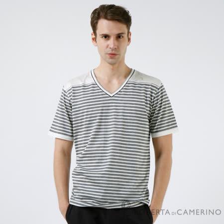 ROBERTA諾貝達 台灣製  設計款 純棉短袖V領POLO衫 淺灰