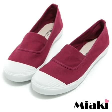 【Miaki】MIT 帆布鞋基本元素平底休閒懶人鞋 (酒紅色)