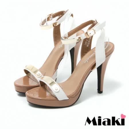 【Miaki】高跟鞋首爾奢華一字露趾涼鞋 (白色)
