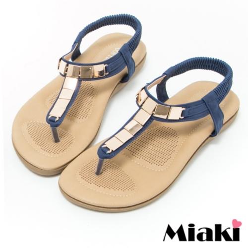 ~Miaki~涼鞋金屬韓式夾腳平底拖鞋 ^(藍色^)