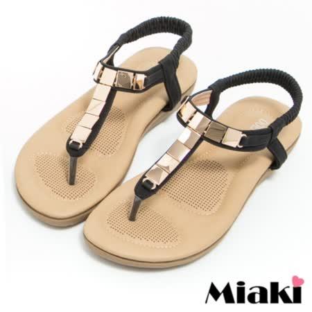 【Miaki】涼鞋金屬韓式夾腳平底拖鞋 (黑色)