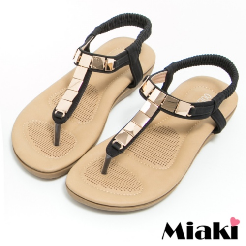 ~Miaki~涼鞋金屬韓式夾腳平底拖鞋 ^(黑色^)