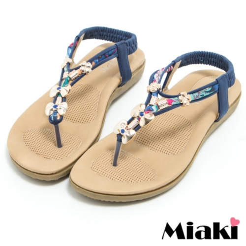 ~Miaki~涼鞋金屬亮眼夾腳平底拖鞋 ^(藍色^)