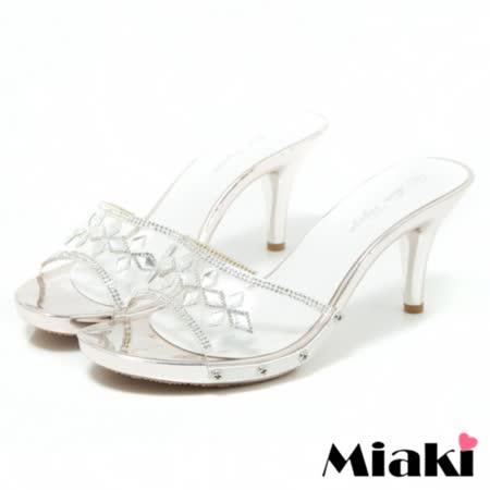 【Miaki】涼鞋金屬透明露趾高跟拖鞋 (白色)