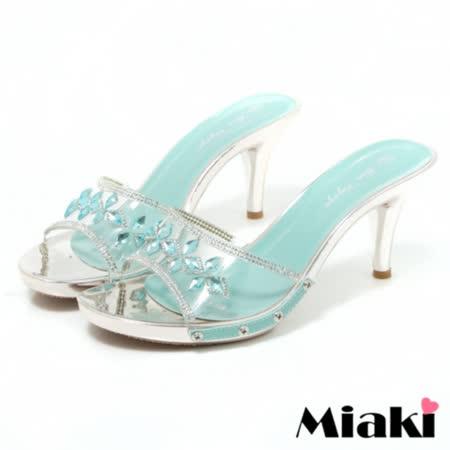 【Miaki】涼鞋金屬透明露趾高跟拖鞋 (藍色)
