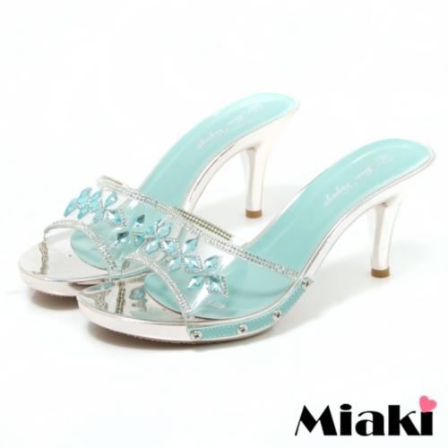 ~Miaki~涼鞋金屬透明露趾高跟拖鞋 ^(藍色^)