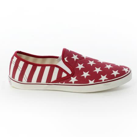 AIRWALK(女) - 大星星條紋直套懶人帆布鞋 - 紅星星