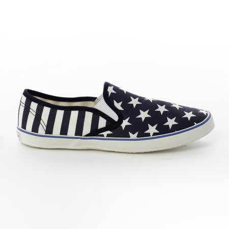 AIRWALK(女) - 大星星條紋直套懶人帆布鞋 - 藍星星