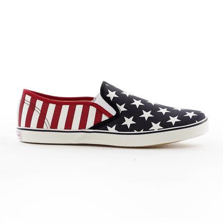 AIRWALK(女) - 大星星條紋直套懶人帆布鞋 -紅藍星