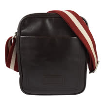 BALLY 經典LOGO荔枝牛皮紅白紅織帶斜背包.深咖