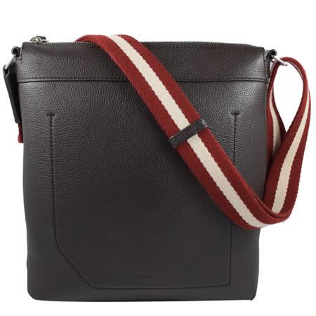 BALLY 經典LOGO烙印荔枝皮革紅白紅織帶斜背包.深咖