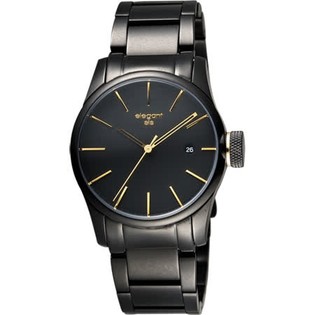 elegantsis JT41 都會流行腕錶-黑金/36mm ELJT41-VO09MA