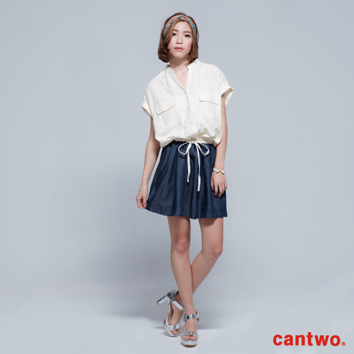 cantwo立領襯衫拼接短袖洋裝^(共一色^)